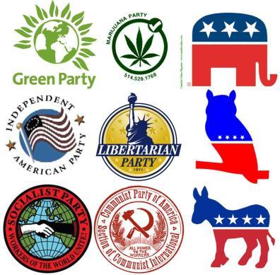 Đa đảng ở Mỹ, vẫn có đảng Cộng sản và đảng Xã hội. Nguồn ảnh: apushcanvas pbworks.com