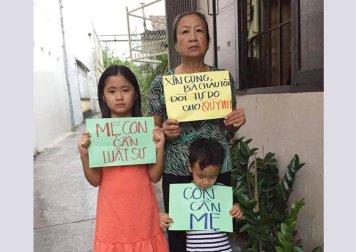 Mẹ và hai con cô Quỳnh. (Hình: Internet)