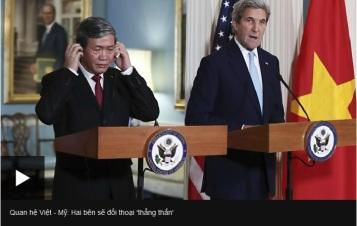 Đinh Thế Huynh họp báo với John Kerry. Nguồn: BBC
