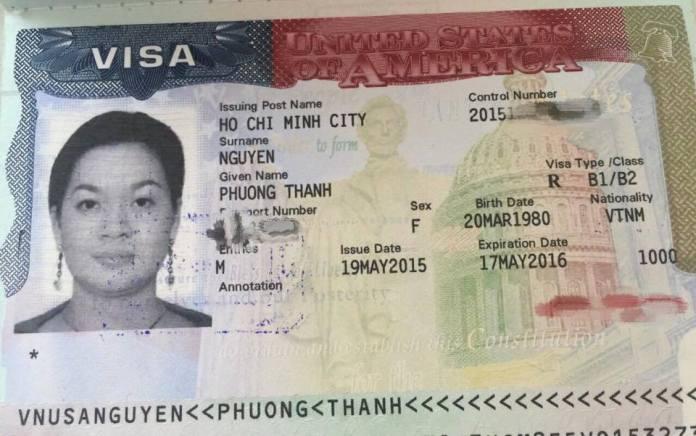 Tấm hộ chiếu vào Mỹ của bà Nguyễn Thanh Phượng, chủ ngân hàng, chủ quỹ đầu tư Bản Việt ở Sài Gòn, con gái cựu thủ tướng Nguyễn Tấn Dũng, bị lộ trên mạng xã hội. (Hình: FB Lê Nguyễn Hương Trà)