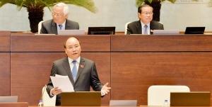 Thủ tướng Nguyễn Xuân Phúc trả lời chất vấn trước Quốc hội. Nguồn: VTC