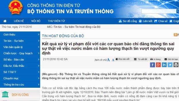 Thông báo xử phạt của Bộ Thông tin và Truyền thông Việt Nam. Ảnh chụp màn hình.