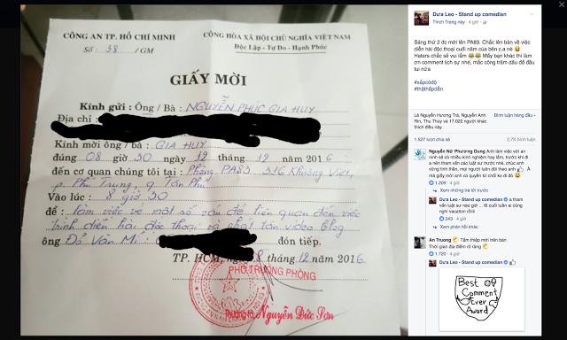 """Ảnh chụp giấy mời Dưa Leo tới """"làm việc"""" với Công an phòng PA83. Nguồn: DLB"""
