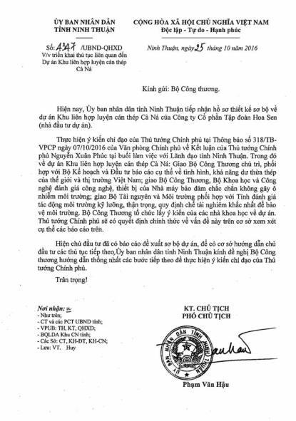 Công văn của UBND tỉnh Ninh Thuận gửi Bộ Công Thương. Nguồn: FB Bạch Hoàn