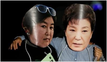 Hình mặt nạ của bà TT Phác Cẩn Huệ (mặt) và bà Thôi Thuận Thực (trái) do dân chúng biểu tình mang chế nhạo. Ảnh Internet