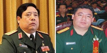 Hai cha con ông Phùng Quang Thanh và Phùng Quang Hải. Nguồn: internet