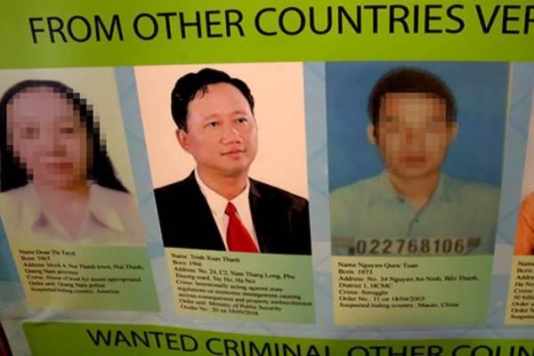 Trịnh Xuân Thanh trong danh sách truy nã quốc tế của Interpol. Ảnh: internet