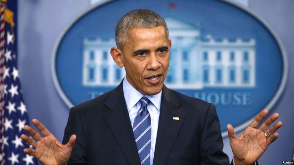 Tư liệu - Tổng thống Barack Obama đề cập đến những vụ tấn công tin tặc của Nga nhắm vào cuộc bầu cử Mỹ trong buổi họp báo cuối cùng của năm tại Toà Bạch Ốc, ngày 16 tháng 12 năm 2016. Ảnh: Reuters.