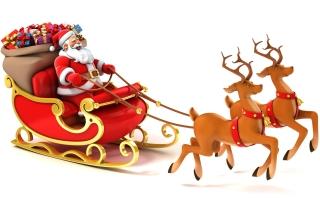Ông già Noel cùng các con tuần lộc mang quà phát cho trẻ em. Nguồn: internet