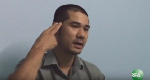 Nhà hoạt động Paulo Thành Nguyễn diễn tả với RFA anh bị chĩa súng vào đầu đe dọa. RFA Photo