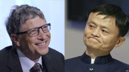 Tỷ phú Bill Gates (trái) và doanh nhân Jack Ma. Ảnh: VOA