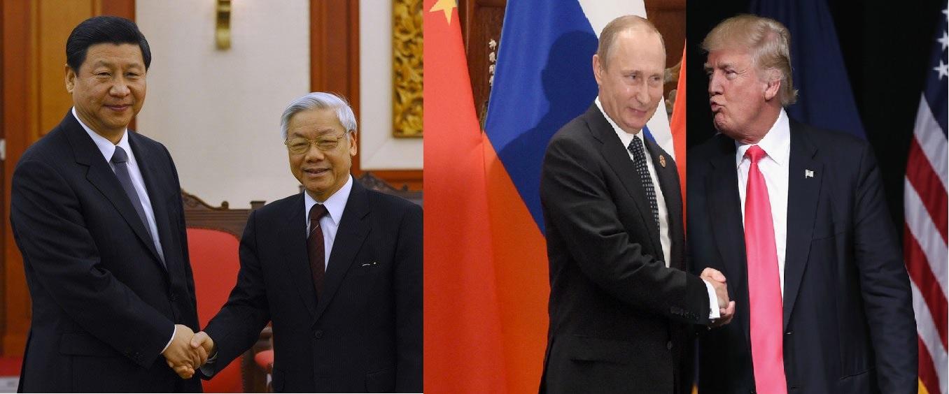 Từ trái qua: Tập Cận Bình, Nguyễn Phú Trọng, Vladimire Putin, Donald Trump