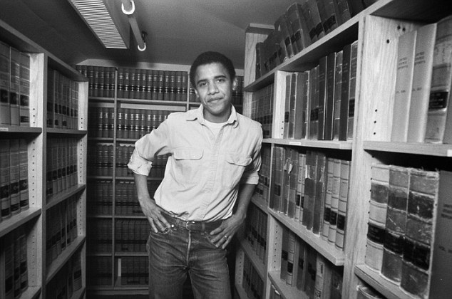 Barack Obama, graduate of Harvard Law School '91, is photographed on campus after  was named head of the Harvard Law Review in 1990.