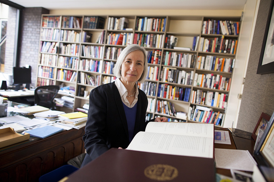 Martha Minow is the Morgan and Helen Chu Dean and Professor of Law at Harvard Law School. She is pictured in her office in Griswold Building at Harvard University. Stephanie Mitchell/Harvard Staff Photographer