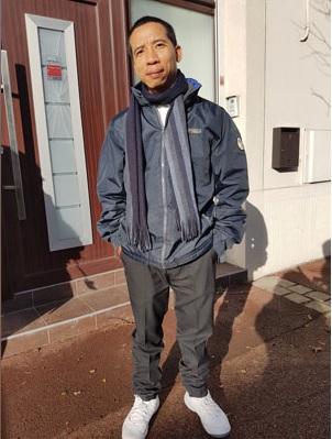 Tù nhân lương tâm Đặng Xuân Diệu đến Pháp hôm 13/1/2017. Ảnh: Tường An/ RFA