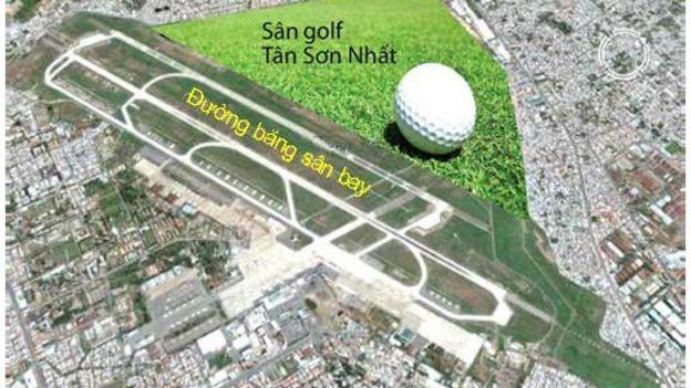 Sân golf cạn đường băng sân bay Tân Sơn Nhất. Nguồn: internet