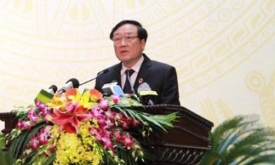 Chánh án Nguyễn Hòa Bình phát biểu tại hội nghị. Ảnh: báo TP