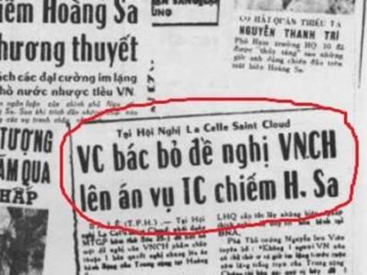 Ảnh chụp báo Chính Luận liên quan tới trận Hải chiến Hoàng Sa. Nguồn: internet