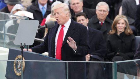 Donald Trump đọc diễn văn tại lễ nhậm chức hôm qua. Ảnh: internet