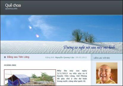 """Blog """"Quê Choa"""" của bọ Lập, một thời là địa chỉ của rất nhiều cư dân mạng tìm đọc. Ảnh chụp màn hình."""