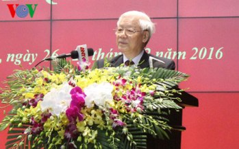 Tổng Bí thư Nguyễn Phú Trọng phát biểu chỉ đạo tại Hội nghị Công an toàn quốc lần thứ 72. Ảnh: VOV
