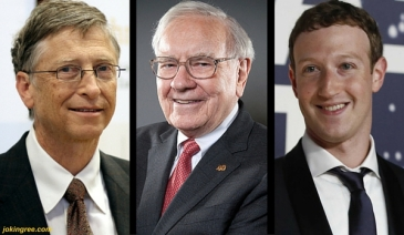 Ba tỉ phú (từ trái sang) Bill Gates, Warren Buffett và Mark Zuckerberg.