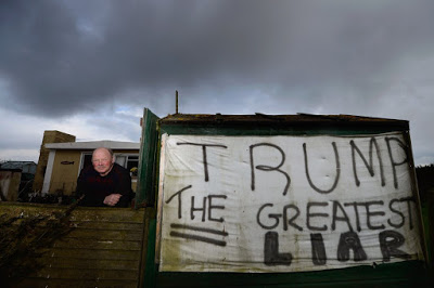 ABERDEEN, SCOTLAND - APRIL 23: Michael Forbes stands beside his shed, near to Donald Trump's golf course which is currently under construction on the Menie estate on April 23, 2012 in Aberdeen, Scotland. Mr Trump will appear before the Scottish Parliaments Economy, Energy and Tourism committee on Wednesday to voice his concerns over the Scottish government's policy of promoting wind power. A decision is expected later this year on the government's plans to erect 11 turbines of the coast next to the Menie estate golf course. (Photo by Jeff J Mitchell/Getty Images)