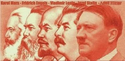 Các ông tổ cộng sản Karl Marx, Angels, Lenin, Stalin được so sánh với nhà lãnh đạo độc tài phát xít Hitler. Nguồn: internet