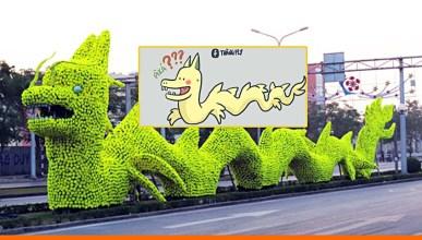 'Rồng pikachu' gây tranh cãi ở Hải Phòng. Ảnh: internet