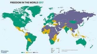 Sơ đồ phúc trình về tự do toàn cầu với 195 quốc gia trên thế giới. Photo: FreedomHouse.org