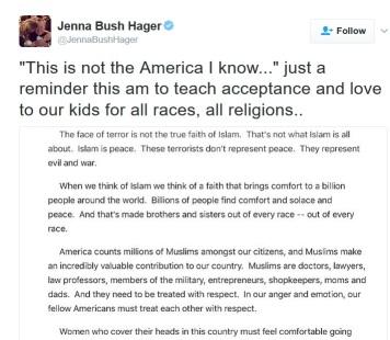 Ảnh chụp Tweet của cô Bush