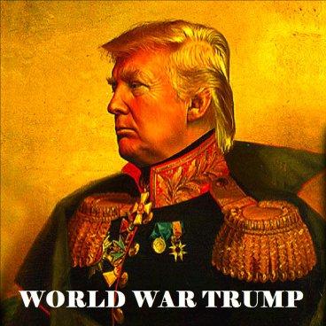 Hình ảnh Tổng thống Mỹ, Donald Trump được mô tả như một vị hoàng đế, sẵn sàng gây chiến với thế giới. Nguồn: Watching America.