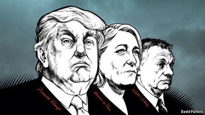 Các lãnh tụ của chủ nghĩa dân túy: từ trái qua, Donald Trump, Marie Pe Pen và Viktor Orbán. Nguồn: David Parkins