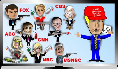 Biếm họa: Trump đánh nhau với báo chí. Nguồn: internet
