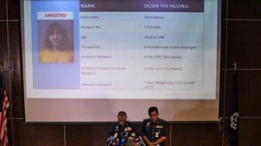 Hình của cảnh sát Malaysia công bố ghi rõ số hộ chiếu C1031046 của nghi phạm Đoàn Thị Hương và ngày đến từ Hà Nội. Ảnh: Getty Images.