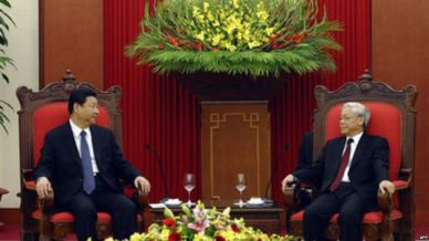 Tư liệu- Tổng bí thư Nguyễn Phú Trọng tiếp Chủ tịch Trung Quốc Tập Cận Bình. Ảnh: AFP