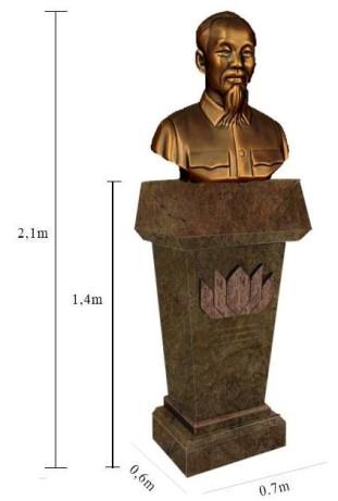 Ảnh 1: Bức tượng Hồ Chí Minh cao hơn 2 mét (kể cả bục) dự định được đặt trong công viên Donau tại thủ đô Viên của nước Áo. Ảnh: Đặng Hà