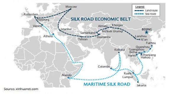 """Bản đồ """"Con Đường Tơ Lụa"""" của TQ. Nguồn: Tân Hoa Xã"""