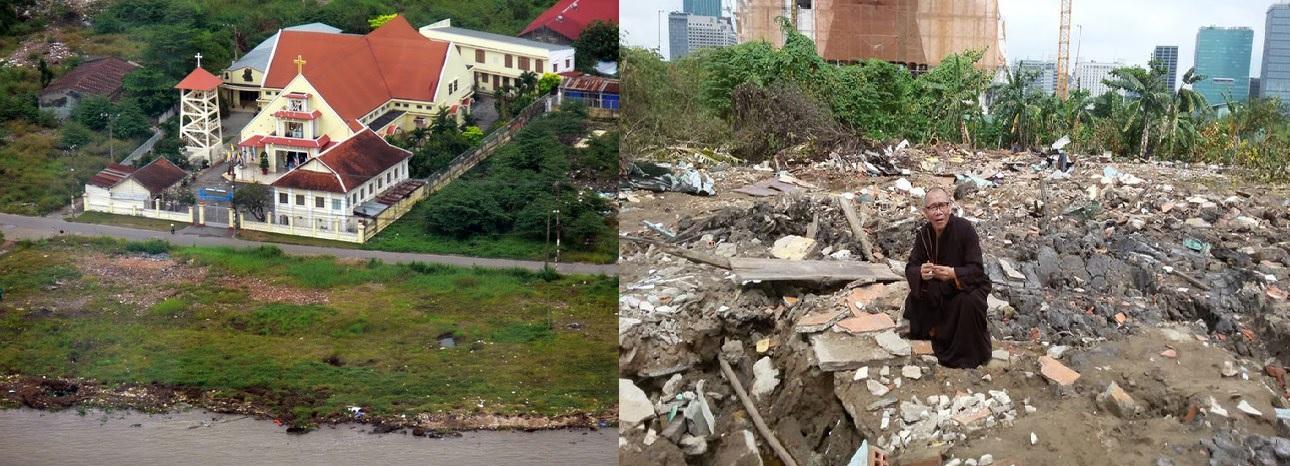 Nhà thờ Thủ Thiêm (trái) liệu sẽ bị đập bỏ như chùa Liên Trì (phải)? Nguồn: internet