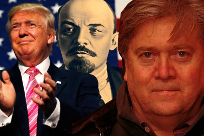Donald Trump, Lenin, Steve Bannon. Ảnh minh họa của Daily Beast.