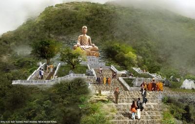 Tượng Phật Hoàng Trần Nhân Tông trên núi Yên Tử. Ảnh: Nguyễn Khắc Mai.
