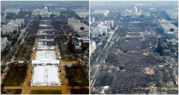 """Tổng thống Trump nói chưa bao giờ dân Mỹ đi đông đến thế tham dự một buổi lễ """"ra mắt"""" của chủ nhân mới của Tòa Bạch Ốc. Hình bên trái năm 2017, hình bên phải 2009."""
