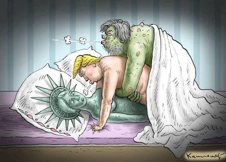 Biếm họa Steve Bannon (Ba Nộng), Donald Trump và Nữ thần Tự Do. Nguồn: