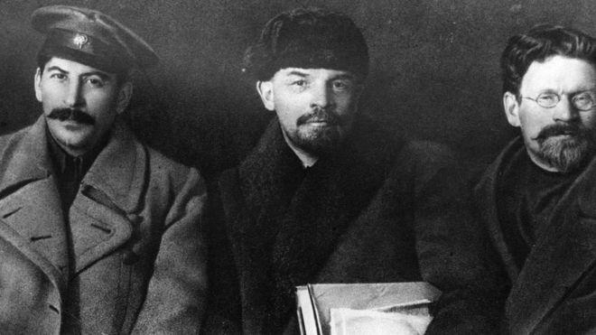 Ba nhân vật cao cấp của cách mạng cộng sản Nga: Statin, Lenin và Kalinin. Ảnh: Getty Images