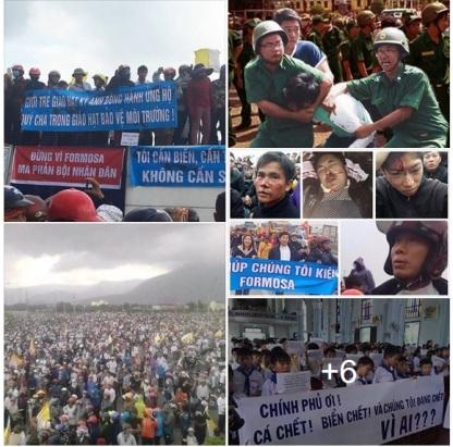 Người dân xuống đường phản đối Formosa và bị đàn áp khốc liệt. Nguồn: FB.