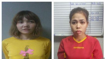 Nghi can Đoàn Thị Hương (bên trái) và nghi can người Indonesia Siti Aisyah (bên phải). Ảnh: Reuters.
