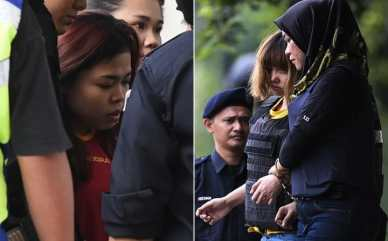 Siti Aisyah, left, and Doan Thi Huong leave the magistrates' court in Sepang, Malaysia Credit: AFP